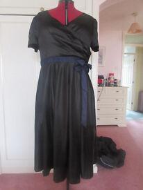 Lindy Bop black satin fully lined evening dress Size 24 BNWOT
