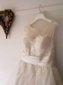 Beautiful A line wedding dress with illusion neckline