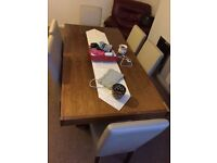 6 seat dining table and cairs also cabbinet