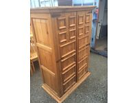 """PINE WOOD DISPLAY CABINET WITH BUILT IN 42"""" TV FREE DELIVERY IN LIVERPOOL"""