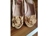 Stylish boutique peeptoe peach low heal shoes