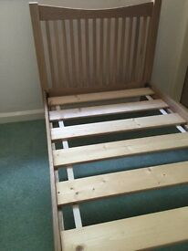 LIGHT OAK SINGLE BED FRAME, IN NEW CONDITION.