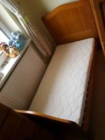 Mamas and Papas cot bed with Mattress and cot top changer