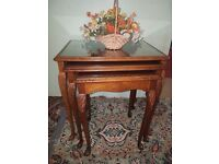 Glass Tops mahogany Nest Of Tables set of 3
