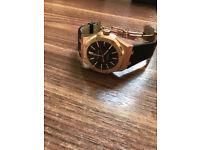 Audemars Piguet Royal Oak, Rose Gold, Black Leather Strap, 41mm, Swiss ETA