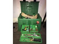 Step Carry Tool Box w/ Two Draws & Selection of Tools, Chisels & Other Bits
