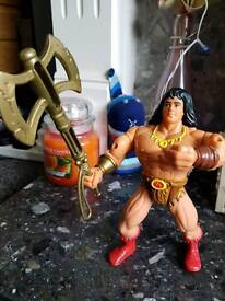 2 vintage Hasbro 1992 action figures conan greywolf with weapons mint £15 retro 80s