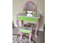 Children's wooden dressing table/desk and matching stool