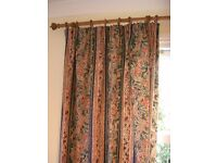 Rich Tudor style swirly floral curtains Dorma machine wash green burgundy cream