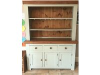 Kitchen Dresser Painted in Farrow and Ball Blue Green with Solid Oak Top