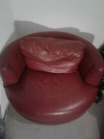 Red Round Swivel Chair , no scratches or rips selling due to moving home and have a new sofa
