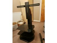 Black TV stand for TVs - 32-47 inch. Tidy Cable system