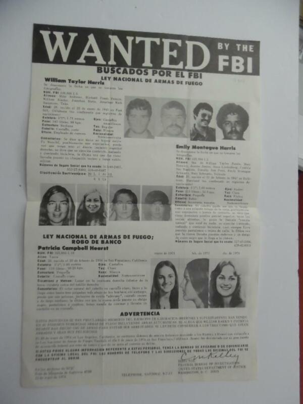 1974 Patricia Patty Hearst FBI Wanted Poster Symbionese Liberation Army ORIGINAL