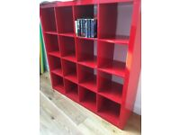 Ikeas red billy bookcase. 150cm wide by 150 tall and 39cm deep Red.