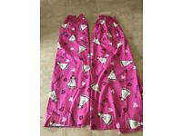 Girls pink princess curtains and heart fairy lights