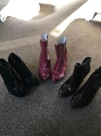 3 pairs ankle boots size 3