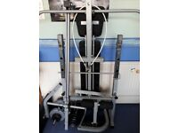 York fitness ultimate multi function weights bench with a range of weights.