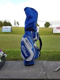 Titleist Golf Cart bag - Blue and White with matching head cover.