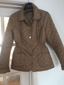 Dorothy Perkins Beige Brown Padded Jacket Coat Gold Buttons & Pockets Size 10