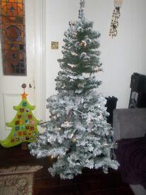 6ft 1.8m Prelit LED Christmas Tree Snowy Flocked Boxed
