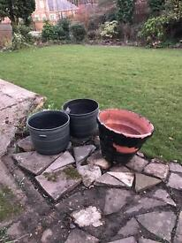 3 large decorative pots for garden plants two matching