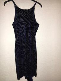 Dark blue sequin fitted dress Size 12