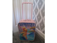 GOING ON HOLIDAY? GIRLS PINK TINKERBELL PULL ALONG SUITCASE - GC