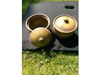 Pair earthenware storage pots.
