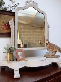 Antique Painted Dressing Table Mirror, French Style Painted Mirror