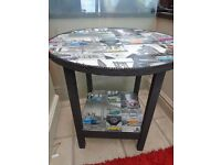 LUSH SHABBY CHIC VW STYLE ROUND SIDE TABLE FOR SALE.