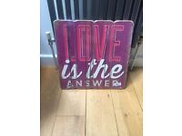 New Large Home Decor Plaque Sign Love Is The Answer 40x40cm Living Room Bedroom Kitchen BNIP