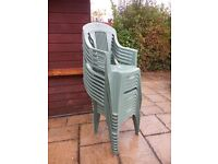 Plastic garden chairs and tables
