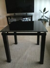 Glass tv cabinet and coffee/ lamp table