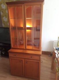 Living room wall unit with lights