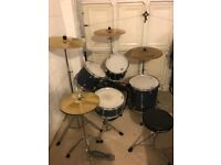 Pearl Forum Series Drum Kit, With Paiste, Solar and Zildjian cymbals. No Foot Pedal!