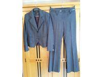NEXT Ladies tailored Trouser Suit. Black/Grey - Size 8.
