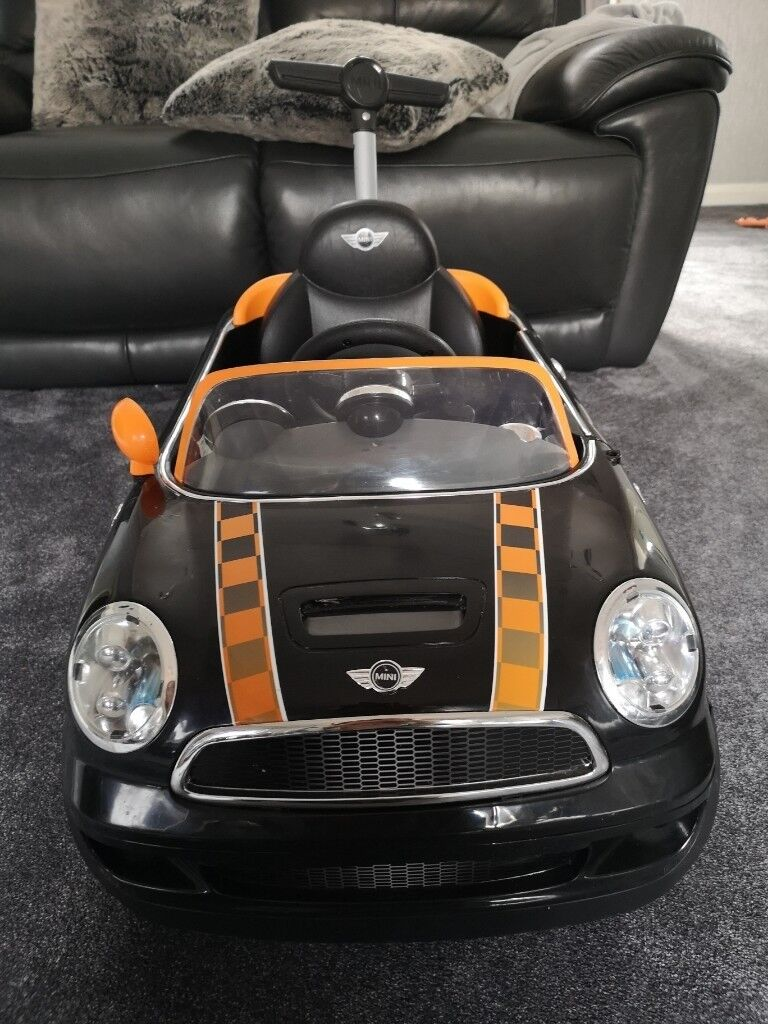 mini cooper ride on push buggy orange and black car | in dundee