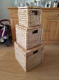Set of 3 decorative wooden storage boxes
