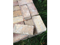 Reclaimed recycled bricks solid walling paving house demolition, reds, browns & tans solid wire cut