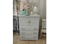 Shabby chic solid pine tallboy with three drawers