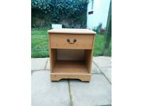 2 x Bedside Tables, Wood Veneer, single drawer, good condition.