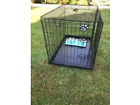 Cozy pet dog cage with with twin dog bowl inc