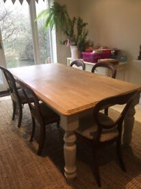 Farmhouse dinner table (free chairs)