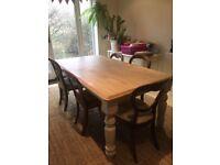 Farmhouse dinner table (free chairs)