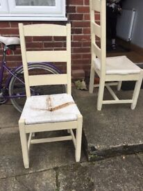 Pair of Solid Wood Farm House Chairs - Up-cycle Project? - WHITSTABLE, KENT.