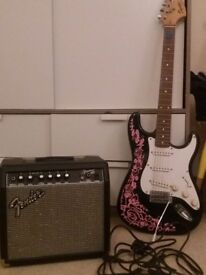 Fender Squier Strat Guitar and Amp for sale!