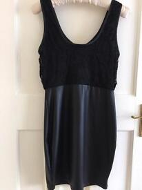 Black dress 10 lace faux leather bnwt