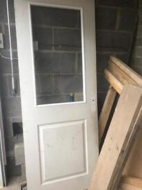 X2 white glazed panel interior doors