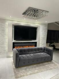 Liang and Eimil Luxury Webster Sofa In Night Grey Velvet