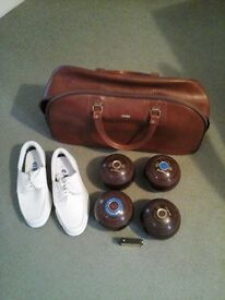 """Set of Bowls. """"Cotswold"""" Size 3 + Bag & Measure. Shoes size 8 white. worn once."""